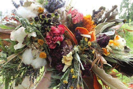 Dried Flower Bouquet, Bridal Orange Rust Halloween Autumn Turkey Feather Bouquet