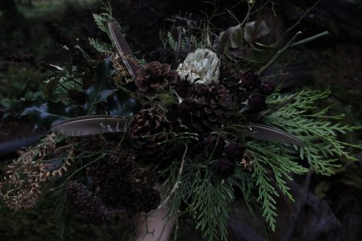Dried Flower Bouquet, Bridal Green & Brown Greenery Woodland Pinecone Christmas Flowers
