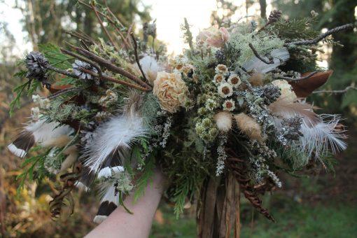 Dried Flower Bouquet, Bald Eagle Bridal Mountain Feather Neutral Woodland Bouquet