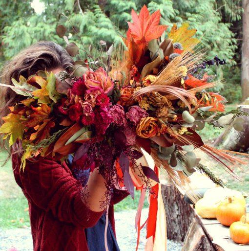 Dried Flower Bouquet, Orange Bridal Peach Autumn Wheat Bouquet