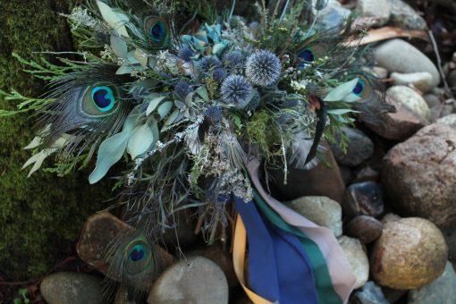 Dried Flower Bouquet, Peacock Thistle Scottish Wedding, Blue Bridal Woodland