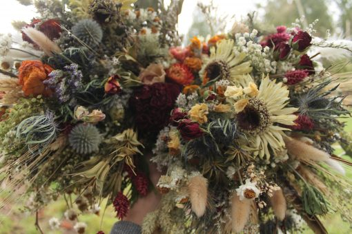 Dried Flower Bouquet, Thistle Wheat Rustic Bunnytail Grass Daisy Dusty Blue, Rose