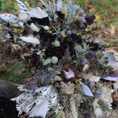 Dried Flower Bouquet, Purple Bridal Lavender Gray & Dark Halloween Elopement