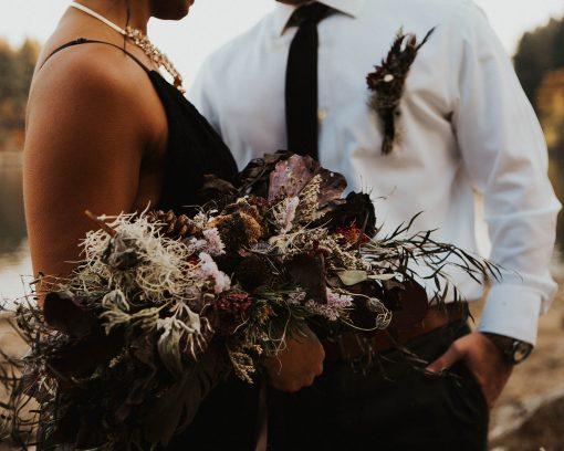 Dried Flower Bouquet, Purple Bridal Black Dark Halloween Moody Elopement