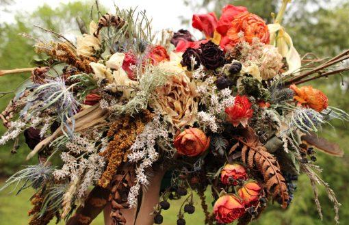 Dried Flower Bouquet, Bridal Orange Rust Halloween Autumn Ranunculus Rose