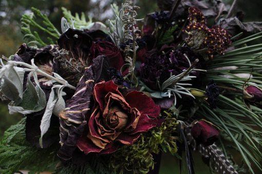Dried Flower Bouquet, Dark Purple Bridal Halloween Elopement, Moody Flowers, Elope