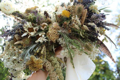 Dried Flower Bouquet, Bridal Antler Daisy Lavender Elopement Autumn Sage