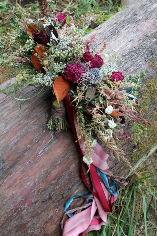 Dried Flower Bouquet, Marsala Thistle Rustic Magnolia Bridal Red & Navy