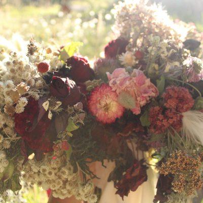 Dried Flower Bouquet, Burgundy & Pink Bridal Elopement Strawflower White Bouquet
