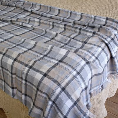 100% Linen Throw Blanket For Bed/Sofa Couch Armchair - Thick Heavy Plaid in Checked Pattern Handmade From European