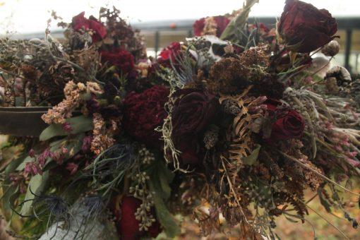 Dried Flower Bouquet, Dark Purple Wine Burgundy Halloween Moody Black