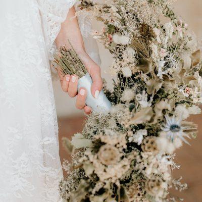 Dried Flower Bouquet, Light Blue Bridal Elopement Thistle Neutral Cream White And