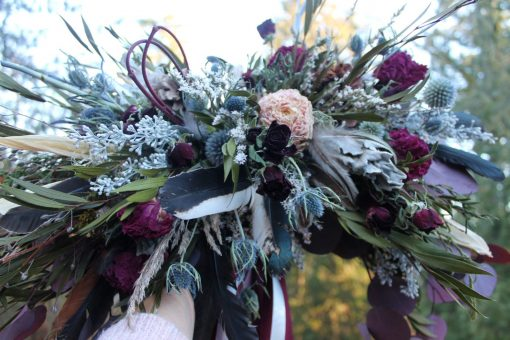 Dried Flower Bouquet, Thistle Burgundy & Blue Bridal Dusty Light Peony Red
