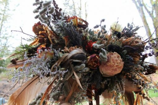 Dried Flower Bouquet, Bridal Neutral Rust & Lavender, Woodland Elope, Feather Rose