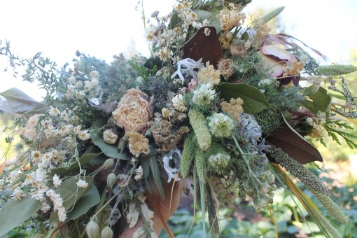 Dried Flower Bouquet, White Bridal Woodland Neutral Cream Magnolia Leaves, Elope, Blush