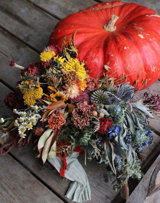 Dried Flower Bouquet, Rainbow Bridal Rust Orange & Sage Elopement Microwedding