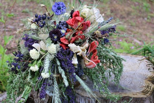 Dried Flower Bouquet, Red Bridal White & Blue Tulip Wheat Rustic Lilac Elope