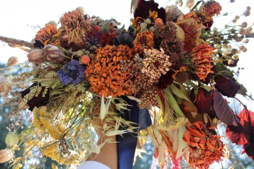 Dried Flower Bouquet, Rust Orange & Navy Bridal Elopement Bouquet