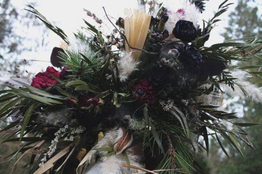 Dried Flower Bouquet, Burgundy Dark Purple Red Woodland Cabin Wedding