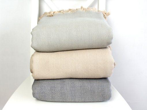 Woven Cotton Bed Blanket Cover | Boho Bedspread Beige Grey Herringbone Throw Double/ Queen/ Twin/ Full Bio Bedding