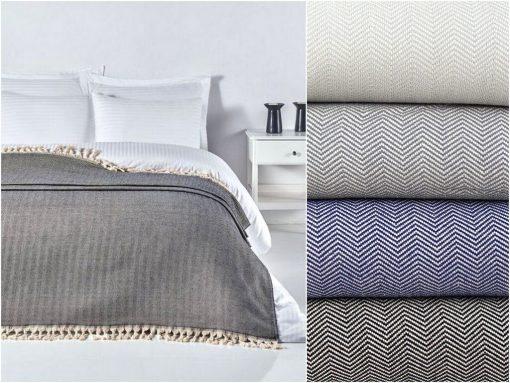 Herringbone Bedspread | Pure Cotton Coverlet Blanket Woven Bedcover Organic Queen Black/Navy Blue Grey Anniversary Gift
