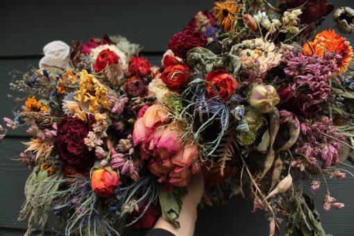 Dried Flower Bouquet, Dark Purple Wine Burgundy Jewel Tones, Rainbow Seedpod, Rust, Thistle Bouquet