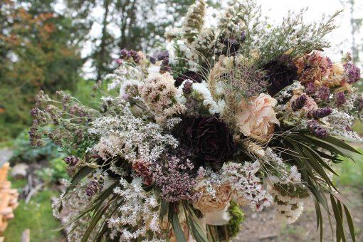 Dried Flower Bouquet, Blackberry Dark Purple Bridal Wine Burgundy & Blush, Elope