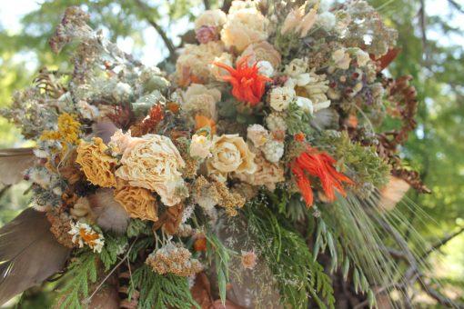 Dried Flower Bouquet, Bridal Orange Mustard Feather Rustic Sunflower