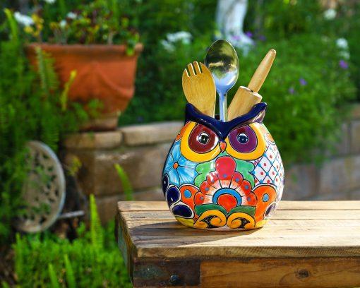 Talavera Pottery Owl Ceramic Utensil Holder Flower Vase Kitchen Organizer Mexican Spoon Crock Decor Multi Color