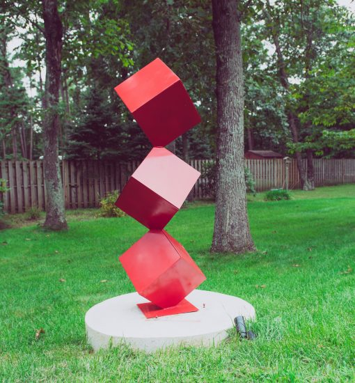 Trinity Mid Century Modern Sculpture 59 Inches Powder Coated Steel