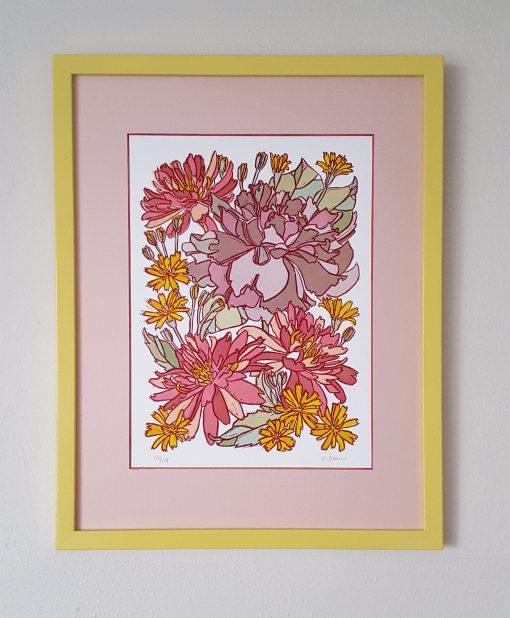 Pink Lotus Linoprint Craftsman Style Art, Mission Botanical Linocut Print, Purple Rose Framed Wall Boho Decor Bedroom Art
