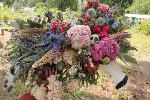 Dried Flower Bouquet, Red Bridal Thistle Boho Wedding, Quail Egg, Bird Nest Feather Blush
