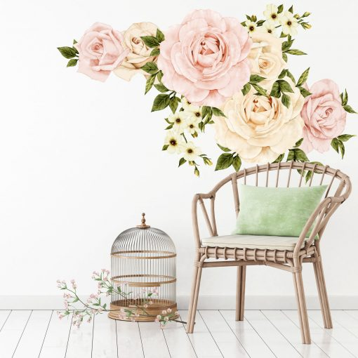Floral Wall Decal, Wallpaper Removable Pink Roses Sticker, Flower Decals, Rose Nursery Decor