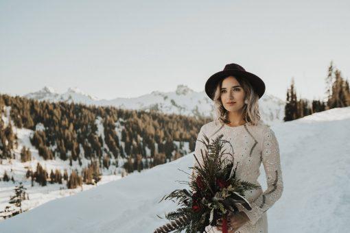 Dried Flower Bouquet, Dark Red Bridal Marsala Feather Seattle Wedding, Elope, Mt. Rainier, Eco