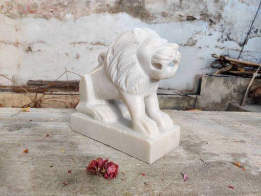 Decorative Lion Handmade Statue Collectibles Birthday Gift Wedding Animal Stone Marble Vintage Antique Garden Decor