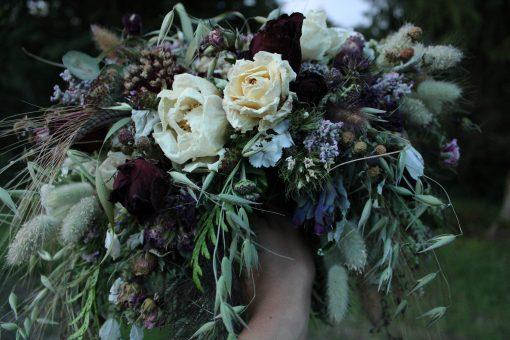 Dried Flower Bouquet, Dark Purple & Blush Burgundy Blush, Moody Blackberry Bouquet