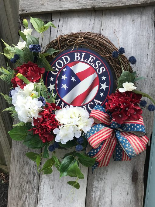 """Patriotic Farmhouse """"God Bless America"""" Grapevine Wreath For Door, Wreaths, Wreaths Front Door, Navy Red, White & Blue"""