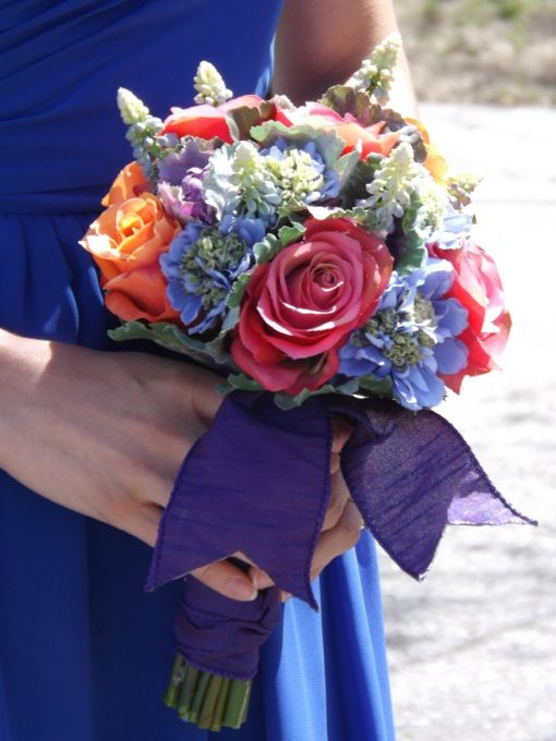 Dragonfly Bouquet, Blue Muscari, Orange & Pink Roses, Purple Ornamental Kale Scabiosa With Crystal Dragonfly, Wedding, Prom