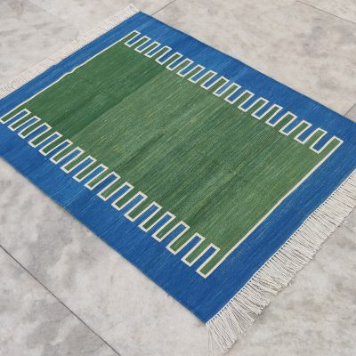 Cotton Home Décor Living Room Flat Weave Rug 3'x4' Handmade Natural Vegetable Dyed Green Reversible Striped Scalloped Dhurrie Yoga Kilim