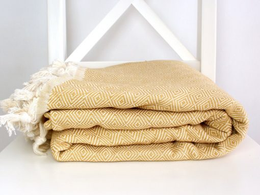 Mustard Diamond Blanket | Woven Bedspread Cotton Throw Queen Size Summer Coverlet Large Family Full Bed Cover