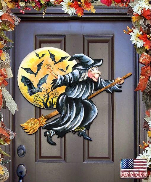 Fall Decor Outdoor Halloween Witch Wooden Door Hanger - Wall Decor 8114011H
