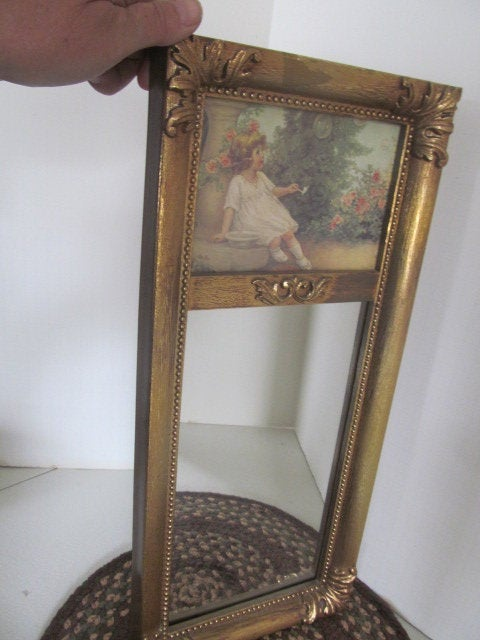 Antique Victorian Wall Mirror Wooden Frame On Bottom Picture Of Little Girl Blowing Bubbles in The Garden Girls Bedroom Decor