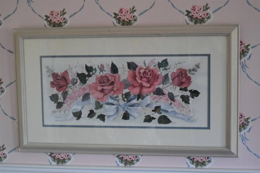 Vintage Gamboa Pink Rose Picture Blue Ribbon Shabby Beach Cottage Chic White Wood Frame Artist Signed Victorian Garden Print Cabbage Flower