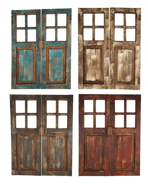 Saltillo Decorative Wall Doors-Pair-Wall-Primitive-Rustic-Garden-Patio-24x32x2 Inches-Lightweight-Four Colors