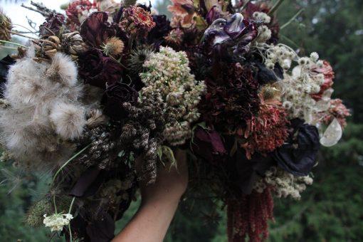 Dried Flower Bouquet, Burgundy Bridal Dark Purple & Moody Elopement Woodland Wedding