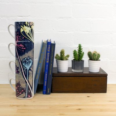 Floral Botanical Design Stacking Mug Set, Perfect Family Gift Christmas Present, Mother's Day