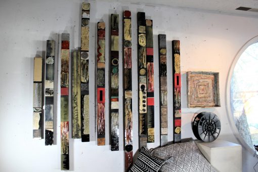 Vintage Pens Pencils Upcycled Wood Metal Ceiling Tin Totem Collage Modern Assemblages Gifts For Lovers Books Movies Artists Music Writers