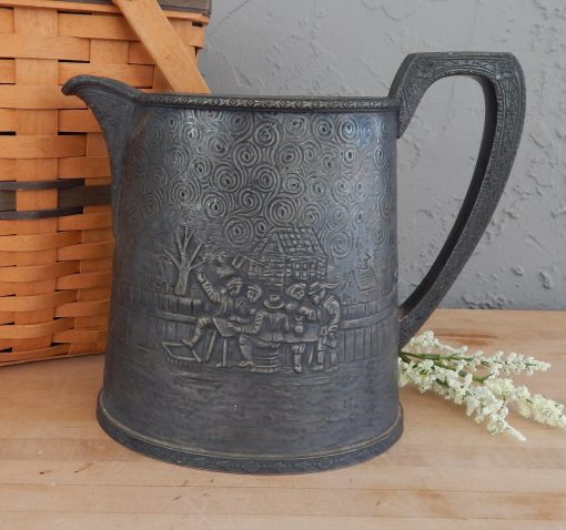 1920S Silverplate Hand Hammered Derby S P Co Beer Pitcher