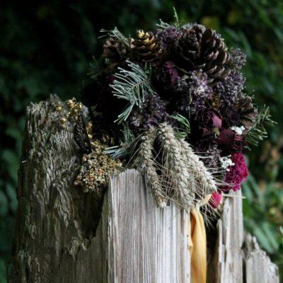 Custom Dried Bridal Bouquet, Pinecone Woodland Sangria Autumn Wine Purple Bouquet