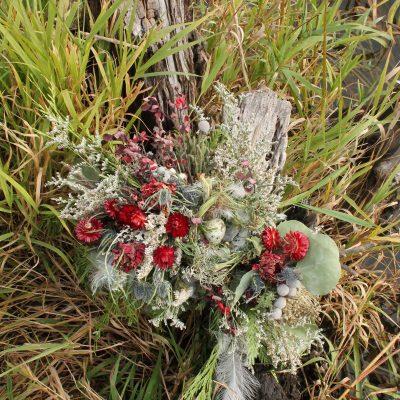 Dried Flower Bouquet, Bird Nest Red Bridal Woodland Elopement Strawflower, Egg